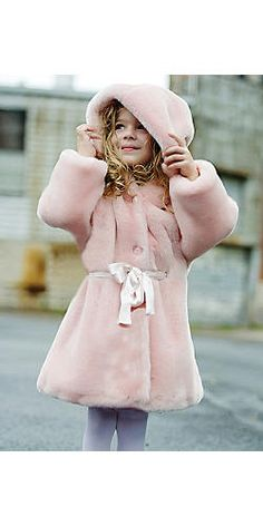 Girl's Pink Sheared Mink Faux Fur Sash Coat | Fabulous Furs