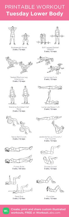 Tuesday Lower Body: Week 1-4 Fitness Pilates, Pilates Workout, Body Weight, Weight Loss, Flutter Kicks, Printable Workouts, Workout Plans, Excercise, Self Improvement