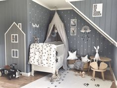 Lukas' Stylish and Impactful Boy's Room - house and mountain wall decor made with masking tape on grey panelled walls, two toned colour palette grey