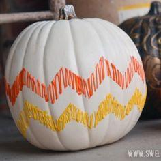 Candy Corn Chevron Pumpkin #halloween