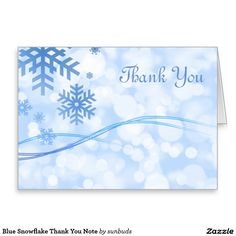 Blue Snowflake Thank You Note Greeting Card