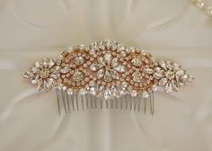 Rose Gold Bridal Hair Accessory, Rose Gold and Rhinestone and Pearl  Wedding Hair Comb, Bridal hairpiece, Bridesmaid by MyVintageWeddingAust on Etsy