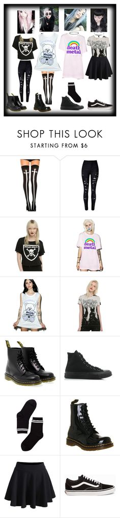 """""""death metal"""" by hunterscloset ❤ liked on Polyvore featuring Chicnova Fashion, Goodie Two Sleeves, Social Decay, Dr. Martens, Converse, Monki, WithChic and Vans"""