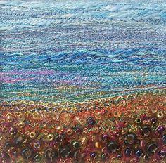 Embroidered landscape Autumn scene stitched by StitchMikki