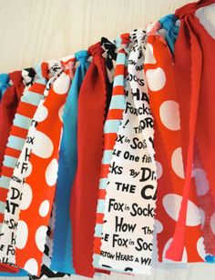 Classic Dr. Seuss colors mixed with his book titles make decorating for your Dr. Seuss or Thing 1 and Thing 2 party easy. My garlands are very full and neatly hand-tied. And, they are reusable! Just d