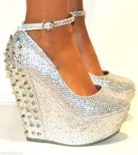 LADIES SILVER STUDDED GLITTERY WEDGE HIGH HEELS ANKLE STRAPPY SHOE SANDAL PARTY #wedge #heels www.loveitsomuch.com