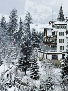 (Gstaad, Switzerland) The Grand Hotel Alpina, photographed by Slim Aarons  in 1977