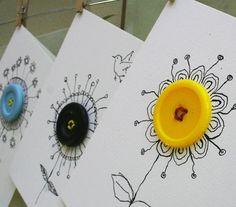 ▷ ideas for crafting with buttons of fresh ideas- ▷ Ideen für Basteln mit Knöpfen von Freshideen Crafting with buttons – 40 inspiring deco ideas - Art For Kids, Crafts For Kids, Arts And Crafts, Button Cards, Button Button, Button Flowers, Cute Cards, Easy Cards, Homemade Cards
