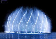 The Dubai Fountain is a record-setting choreographed fountain system set on the 30-acre manmade Burj Khalifa Lake, at the center of the Downtown Dubai development.