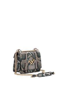 12bde2b3c067 Fendi F Logo Kan I Small Python Shoulder Bag