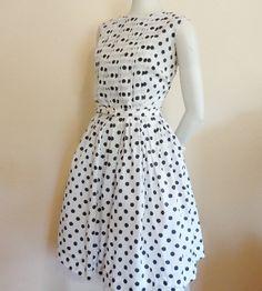 Black & White Polka Dot Vintage 1950's Pin-Up Swing Summer Dress w/ Belt