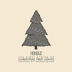 This Day In History - Dec 22 - 1882 - Thomas Edison invents the first string of Christmas tree lights.  --- #thisdayinhistory #todayinhistory #tdih #history #christmas #tree #lights #christmastreelights #onthisday #pine #light #edison #invention #illumination #bright #festive #1882 #365project #illustration #adobe #vector #minimal #simple #minimalism #minimalist #electric #december #holiday #inventor #celebration