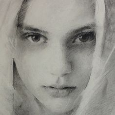 Charcoal detail shot of @Nastya Kusakina inspiration from the photos of @Jens Ingvarsson