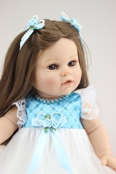 (51.11$)  Know more  - American Girl Doll 18 inches Doll Reborn Real Silicone Doll Realistic Cute Doll Handmade Full Vinyl Gift for Children