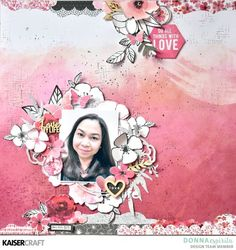 """Donna here with a new layout using the Magenta collection. For a change, I created a scrapbook layout using my photo, so it's like an """"About Me"""" page. 12x12 Scrapbook, Scrapbook Page Layouts, Mixed Media Scrapbooking, Scrapbooking Ideas, Love Life, Magenta, Projects To Try, Card Making, Workshop"""