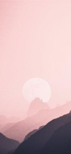 moon near mountain ridge Wallpaper