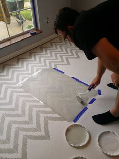 Come see how to paint and stencil a concrete floor in your home.