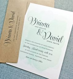 NEW Briana Green Watercolor Wedding Invitation by CricketPrinting, $5.00 -- Maybe in a different color?
