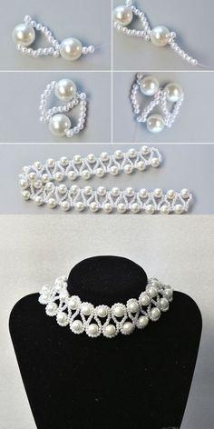Like the pearl pearl necklace? The tutorial is published by LC.c … -… Wie die Perlenkette?c … – Halsschmuck – Tutorial Colar, Necklace Tutorial, Diy Necklace, Pearl Necklace, Diy Bracelet, Necklace Ideas, Pearl Bracelet, Diy Tutorial, Seed Bead Jewelry