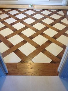 Wood and tile basket weave pattern