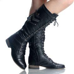 jen s wedding Black Military Combat Army Hiking Punk Flat Womens Mid Calf Boots