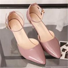 US $19.99 Pointed Toe Stiletto Mid Heels Ankle Strap Patent Leather Women Pumps Prom Shoes Women's Pink
