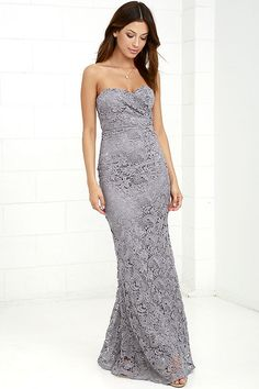 The Inherent Beauty Grey Lace Strapless Maxi Dress is naturally associated with elegance and grace! Lace overlay shapes a strapless sweetheart neckline and mermaid skirt. Strapless Maxi, Strapless Dress Formal, Cute Homecoming Dresses, Bridesmaid Dresses, Trendy Dresses, Formal Dresses, Gray Cocktail Dress, Fancy Gowns, Lace Dress