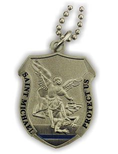 Saint Michael to Protect Us. Single sided design. Pendant measures 1 3/4 tall. Includes dog tag style ball & chain necklace. Copyright 2012
