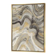 East Urban Home 'Glam Gold Canion' Painting Print on Canvas Format: Silver Framed, Size: H x W x D