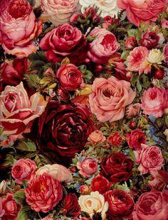 rich rose print