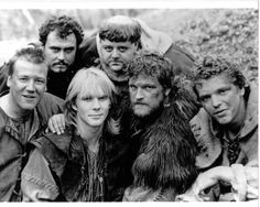 Jason Connery and other actors on the set of Robin of Sherwood Jason Connery, Jeremy Bulloch, Mark Ryan, Ray Winstone, Richard Carpenter, Wolf's Head, Robin, Movie Tv, Tv Series