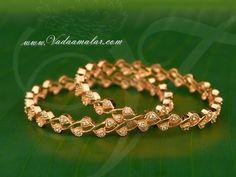 Micro gold plated elegant bracelets with American Diamond stones bangles bracelet - 2 pieces Gold Plated Bangles, Silver Bracelets, Bangle Bracelets, Jewelry Design Earrings, Jewellery Diy, Diamond Jewellery, Jewellery Designs, Bridal Jewelry, Jewelry Art