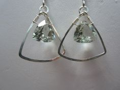 Green Amethyst and Silver Wire Earrings. $28.00, via Etsy.