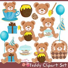 Teddy Clipart Set by 1EverythingNice on Etsy