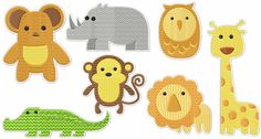 Cute Baby Zoo Animal Machine Embroidery by LightsOutCreations
