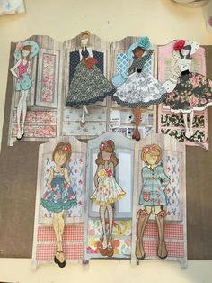 Made by Shauna O'Connor Burwell. Paper Doll Craft, Prima Paper Dolls, Prima Doll Stamps, Vintage Paper Dolls, Doll Crafts, Paper Crafts, Dress Card, Tag Art, Doll Patterns
