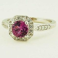 18K White Gold Sapphire Victorian Halo Ring - Set with a 6.0mm Round Pink Sri Lanka Sapphire #BrilliantEarth by bettie