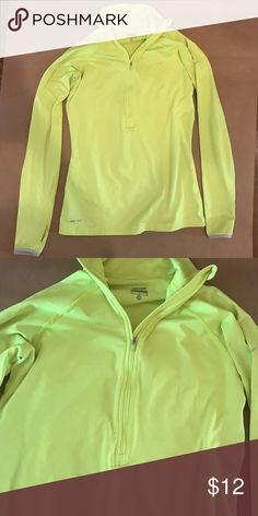 Nike Pullover Nike Dri-Fit Neon Yellow Pullover. Pullover is VERY neon- think traffic sign neon yellow. Fleece on the inside and has finger holes at the end of the sleeves. Size M. Nike Tops