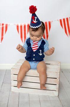 Boys Blue Nautical Sailor Themed Tie Vest Bodysuit on Etsy, $24.99