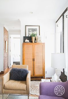 "Lo Bosworth's Downtown Dream Home - We're pretty fond of this <a href=""http://www.allmodern.com/Sunpan-Modern-Club-Agency-Arm-Chair-64318-64319-SNPN2790.html"" target=""_blank"">leather chair</a>. And by ""pretty fond"" we mean we're obsessed. - @Homepolish New York City"