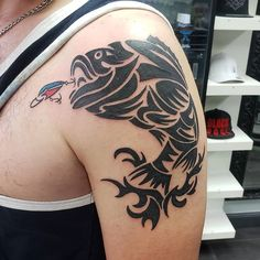 Search inspiration for a Tribal tattoo. Tribal Animal Tattoos, Tribal Animals, Hook Tattoos, Fish Tattoos, Fisherman Tattoo, Fish Stencil, Deviantart Tattoo, Fish Silhouette, Bicep Tattoo
