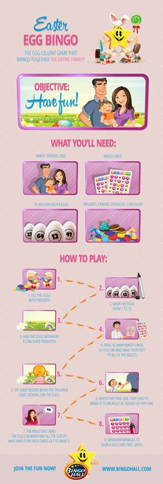 Since Easter is right around the corner, we, the team at BingoHall, decided to give you a fun game to play with your kids, and have a happy Bingo Easter! Fun Games, Games To Play, Bingo For Kids, Easter Party, New Tricks, Giveaways, Easter Eggs, Invitations, Entertaining