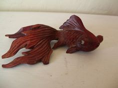 Antique Netsuke Goldfish with Glass Eyes Vintage Wooden Gold Fish with Large Wood Fancy Tail and Google Eyes SALE via Etsy
