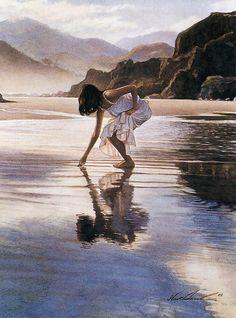 Steve Hanks 'Treasures on the Shore' watercolor 2003 by Plum leaves