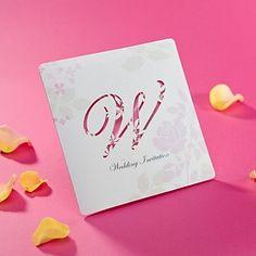 romantisk cut-out bryllup invitasjon i rosa (sett av – NOK kr. Wedding Invitations Online, Wedding Stationery, Invitation Cards, Invites, Wedding Events, Place Card Holders, Romantic, Stationeries, Prints