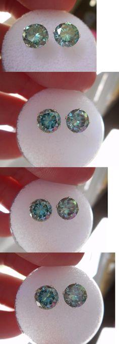 Synthetic Moissanite 110800: Earring Pair Silver 2.20 Tcw 1.10 Ct Vvs1 7.00Mm Peacock Blue Round Moissanite -> BUY IT NOW ONLY: $78 on eBay!