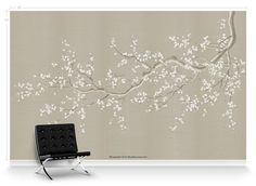 Cherry Blossoms Beige is a unique piece that descends from above. Cherry blossoms blow on a gentle breeze for a modern look. #cherryblossoms #wallpaper #modernwallpaper