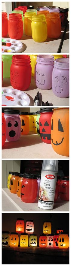 Halloween Painted Jar Luminaries - cute.  Remember to use Minwax to mix with the paint to cover the jars inside evenly with the color