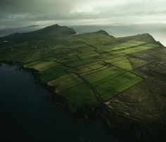 An aerial view of the Three Sisters, the name for the headlands facing the Atlantic Ocean on the Dingle Peninsula.