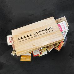 Deluxe wooden hamper bursting with delicious artisan chocolate bars. #beantobar #craft #chocolate